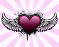 Heart with wings and grunge background Royalty Free Stock Photo