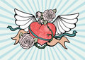Heart with wings and roses Stock Image