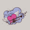 Heart with wings and trumpet retro vector background Stock Image