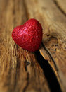 Heart on wood red a background of Royalty Free Stock Images