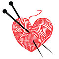 Heart wool knitting needle isolates hobby handcraft logo