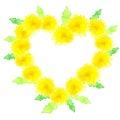 Heart of yellow dandelions Royalty Free Stock Photo