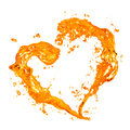 Heart from yellow water splash with bubbles isolated on white background Royalty Free Stock Photos