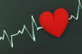 Heartbeat character and design love heart on a chalkboard Royalty Free Stock Images