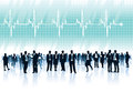 Heartbeat crowd of businesspeople standing in front of big cardiogram with Stock Photos