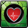 Heartbeat on green cracked web button Stock Photo