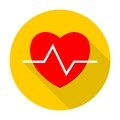 Heartbeat icon with long shadow