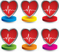 Heartbeat icons on colored discs Stock Photo