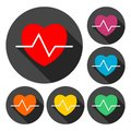 Heartbeat icons set with long shadow