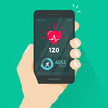Heartbeat indicator on mobile phone screen, pulse meter with heart beat and running activity information, fitness health