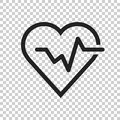 Heartbeat line with heart icon in flat style. Heartbeat illustration on isolated transparent background. Heart rhythm concept.