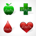 Heartbeat make family icon inside different medica