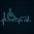 Heartbeat make handicapped and heart symbol illustration of Stock Photography
