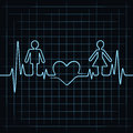 Heartbeat make male female and heart symbol illustration of Stock Images