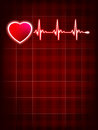 Heartbeat monitor electrocardiogram eps medical with red background and heart symbol vector file included Royalty Free Stock Photography