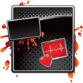 Heartbeat on silver checkered tabs Royalty Free Stock Images