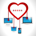 Heartbleed bug virus heart bleed bug with computer, tab, mobile, laptop virus concept- vector eps10