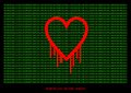 Heartbleed openssl bug vector shape bleeding heart with green text background Royalty Free Stock Image