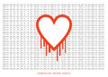 Heartbleed openssl bug vector shape bleeding heart with wall of Stock Photography