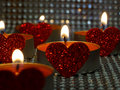 Hearted candles one after another Royalty Free Stock Image