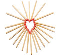 Hearth made of matches Stock Photo