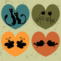 Hearts with animals set Stock Photo