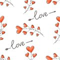 Hearts, arrows and love inscription. Seamless background for Valentine Day. Romantic vector pattern for wallpaper, wrapping, desig