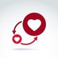 Hearts and arrows romantic conversation icon, vector conceptual Royalty Free Stock Photo
