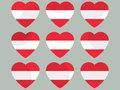 Hearts with the Austria flag. I love the Austria. Austria flag icon set. Vector