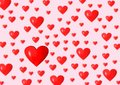 Hearts background red of different size on pink Royalty Free Stock Photos