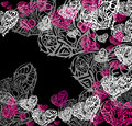 Hearts on black background vector graphic image with white and pink Stock Images
