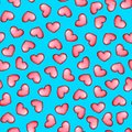 Hearts on a blue background