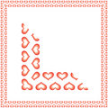 Hearts border offset Royalty Free Stock Image