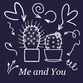 Hearts and cactus. Cute love or friendship cactus couple on valentine doodle card with affection hearts in white line