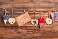 Hearts and card on rope. Royalty Free Stock Photo
