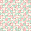 Hearts and circles seamless geometrical pattern