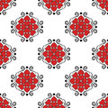 Hearts with classic vintage Victorian ornaments seamless pattern vector retro old style background Valentines Day or wedding invit Royalty Free Stock Photo