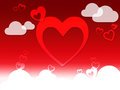 Hearts and clouds background shows love sensation or in love showing Royalty Free Stock Images