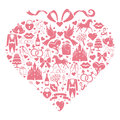 Hearts composition of wedding design icons for web and mobile vector set items in the shape a heart with a bow on top Royalty Free Stock Images