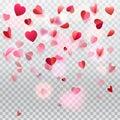 Hearts confetti rose petals flying transparent romance