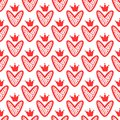 Hearts with crowns drawn by hand. Cute seamless pattern. Sketch, Doodle, graffiti.