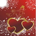 Hearts with cupids Stock Photo