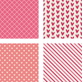 Hearts, Diagonal Stripes & Crosshatch Patterns Stock Photos