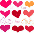 Hearts, doodles Stock Photos