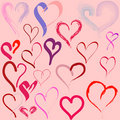 Hearts doodles Stock Photos