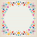 Hearts, dots, flowers and stars funky note paper frame border Royalty Free Stock Photo