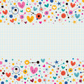Hearts dots and stars funky note paper retro background Royalty Free Stock Photo