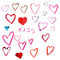 Hearts Drawn By Lipstick. Isol...