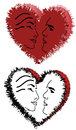Hearts and faces a pair of illustrations of with in them Stock Images