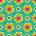 Hearts floral abstract seamless pattern Royalty Free Stock Image